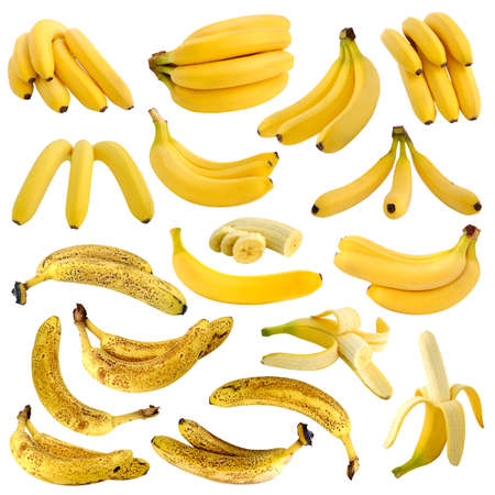 Collection of rotten and ripe bananas isolated on white background
