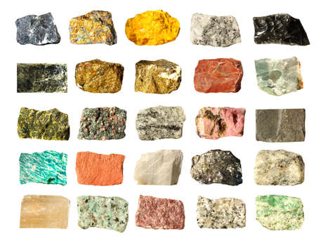 Mineral geology collection isolated