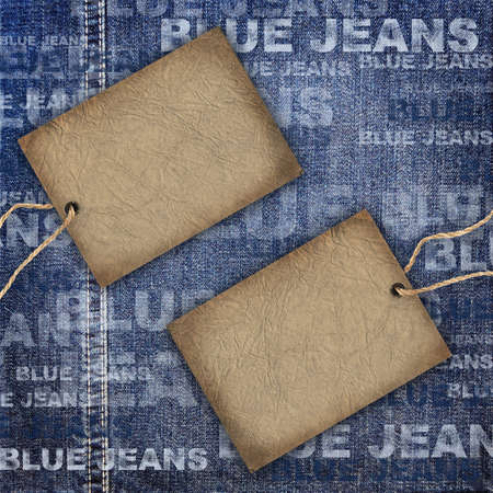 Background denim texture with cardboard label