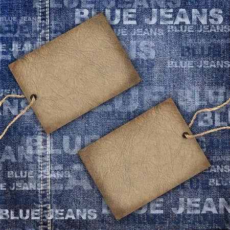 Background denim texture with cardboard label photo