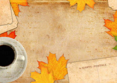 Grunge abstract background with autumn leaf photo