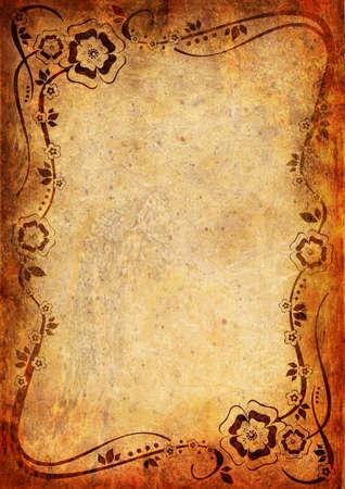 bordure de page: Fond de cru avec des fleurs et des feuilles