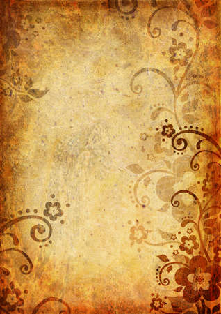 wrinkled paper: Vintage background with flower and leaf
