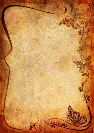 bordure de page: Fond de cru avec le papillon et feuilles