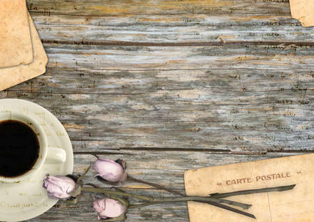 old writing: Romantic background Stock Photo
