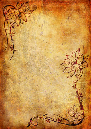 flower age: Vintage background with flower and leaf