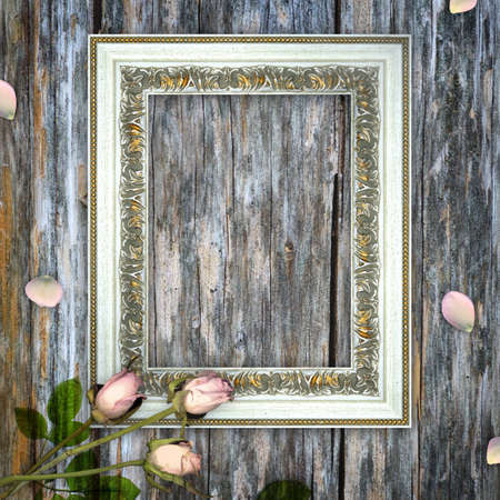 Romantic scrapbook background with frame photo
