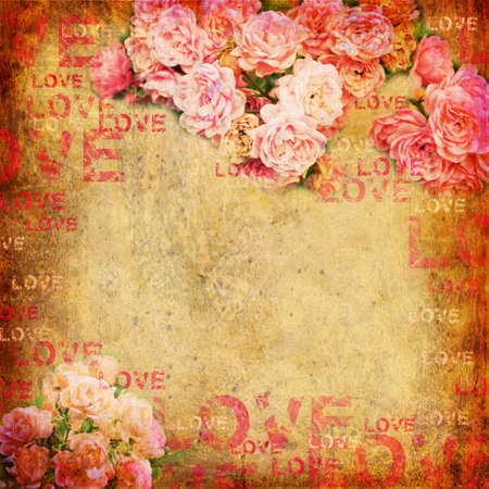 Grunge abstract background with roses photo