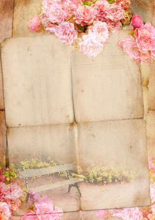 Blank for romantic letter with roses photo