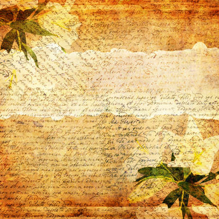 ocher: Grunge abstract background with old letter