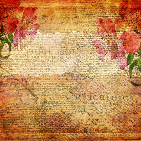 alienated: Grunge abstract background with old letter
