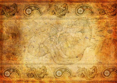 flower age: Oriental vintage background with dragon