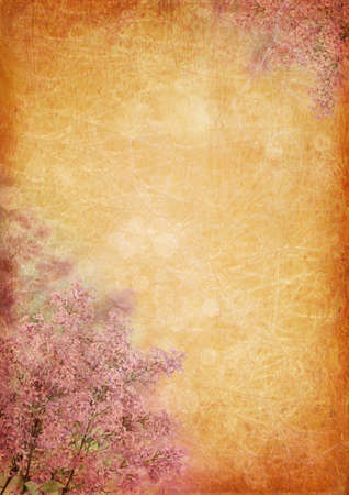 Vintage background with lilac flowers photo