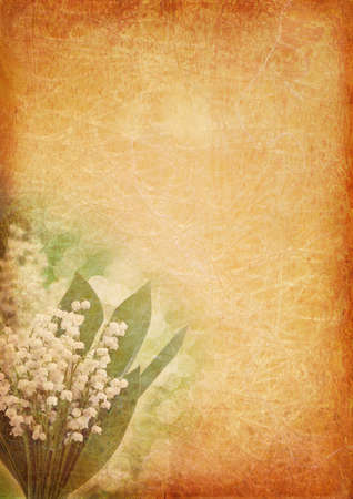 Vintage background with lily of the valley photo