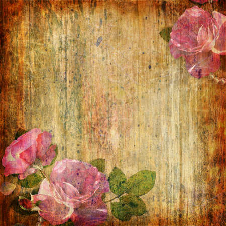 vintage roses: Grunge abstract background with roses