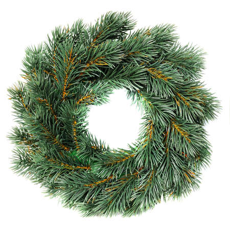 pine wreath: Green round Christmas wreath isolated on white background Stock Photo