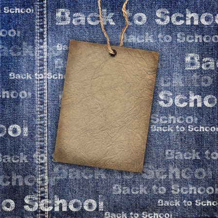 jeans texture: Denim texture with cardboard label and Back to School Background Stock Photo