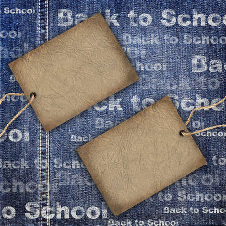 Denim texture with cardboard label and Back to School Background photo