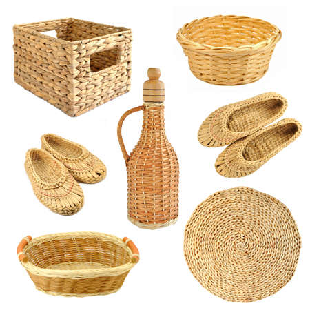 Set of wicker object isolated on white background photo