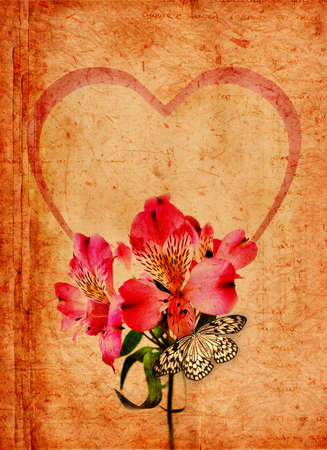 Valentine scrapbook with flowers and butterfly photo