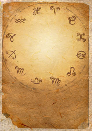 Horoscope zodiac star signs in the circle Stock Photo