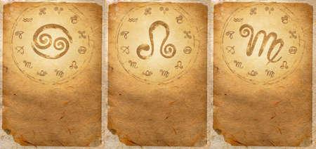 Zodiac series  Cancer, Leo, Virgo  Stock Photo