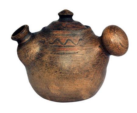 clay pot: Vintage teapot of clay  ceramics