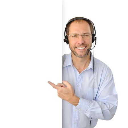 telephone headsets: Retrato de operador de telefon�a aisladas sobre fondo blanco Foto de archivo