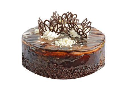 decoracion de pasteles: Pastel de chocolate en el fondo blanco