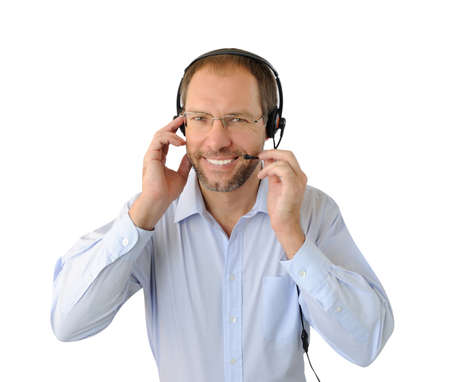 Portrait of phone operator isolated on white background Stock Photo