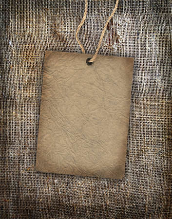 Background texture vintage burlap with label Stock Photo