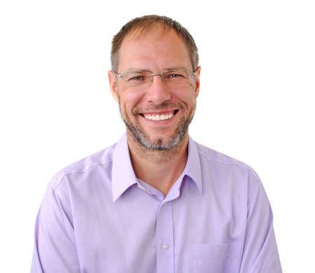 Lächelnde Männer auf dem weißen Hintergrund isoliert Standard-Bild