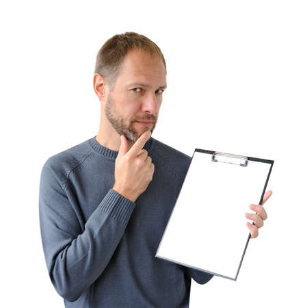 businessman pondering documents: Reflect man in gray with a tablet isolated on white