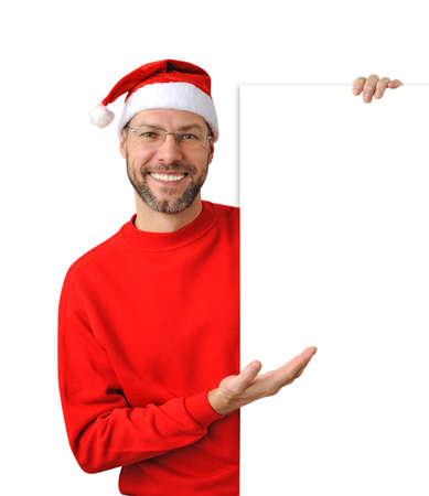Smiling christmas man wearing a santa hat isolated on the white background Stock Photo - 16690797