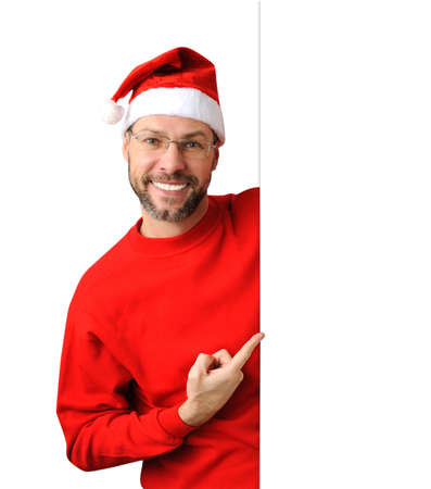 Smiling christmas man wearing a santa hat isolated on the white background Stock Photo - 16690793