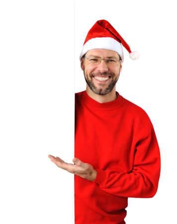 Smiling christmas man wearing a santa hat isolated on the white background Stock Photo - 16690792