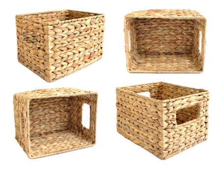 splice: Woven straw basket isolated on the white