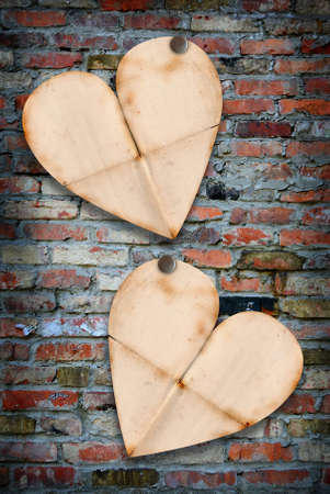 Two heart papers on the break wall Stock Photo - 16910460