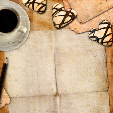 Romantic letter blank series with coffee and cookies