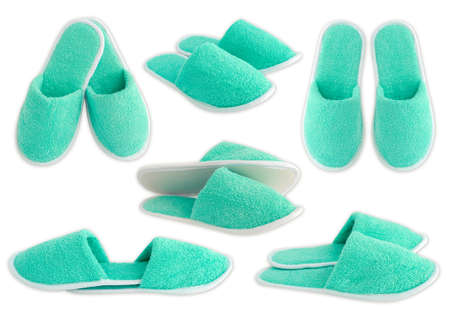 Slippers aquamarine isolated on white background photo