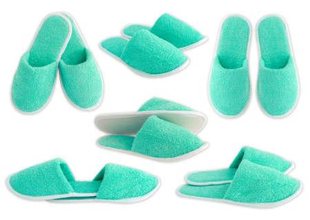 foot ware: Slippers aquamarine isolated on white background