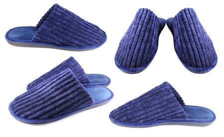 foot ware: Household slippers for men isolated on white background