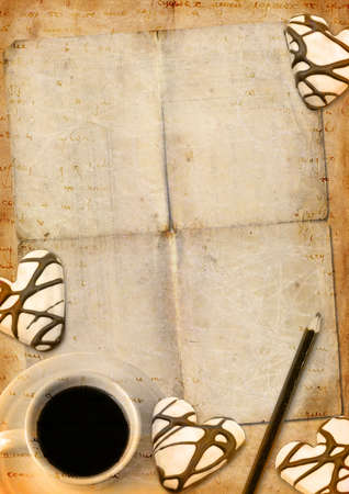 Romantic letter blank series with coffee and cookies photo