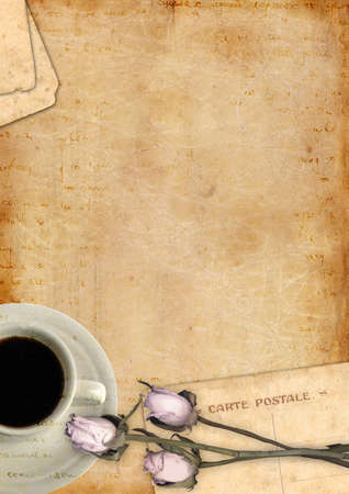 Romantic letter blank series with coffee and roses Banque d'images