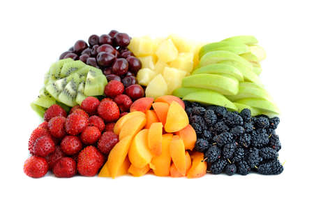 Fruit and berry mix isolated on the white background Stock Photo - 17260233