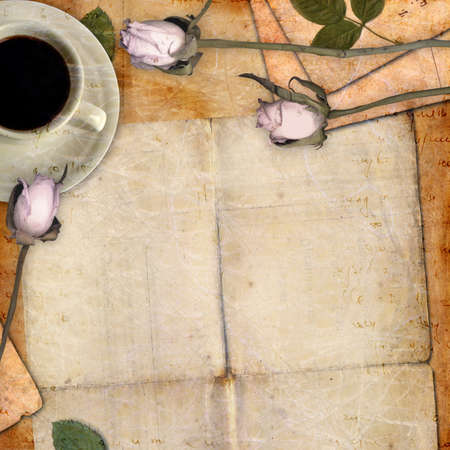 Romantic letter blank series with flowers Stock Photo