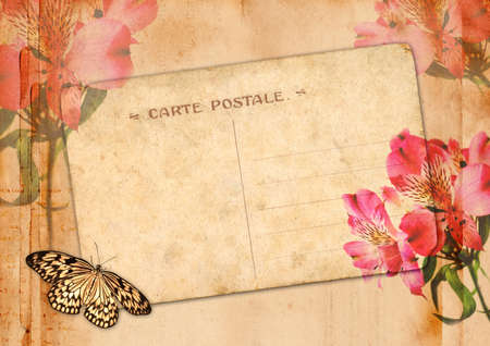 Old postcard with flowers and butterfly photo