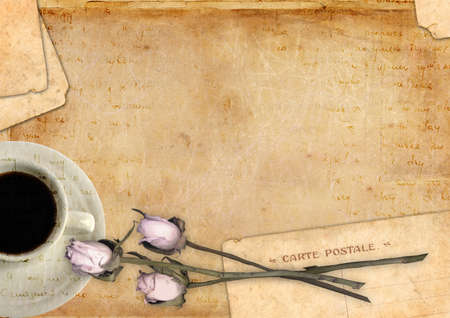Romantic letter blank series with coffee and roses photo