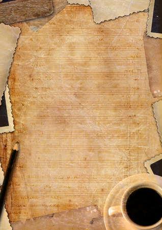 lyrics: Decorative note paper with coffee