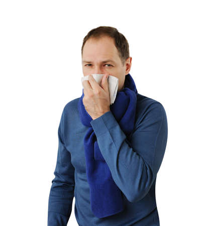 allergen: Man blowing his nose isolated on white background